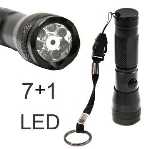 2 in 1 7-LED Torch Lamp Flashlight Light and Laser Pointer - Black