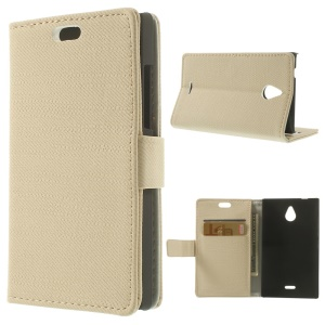 Beige for Nokia X2 1013 Dual SIM Cloth Texture Leather Flip Case w/ Wallet & Stand