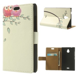 Couple Owl on the Branch for Nokia X2 1013 Dual SIM Wallet Leather Case with Stand