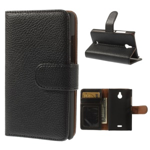 Black Lychee Skin Leather Wallet Case w/ Stand for Nokia X2 1013 Dual SIM