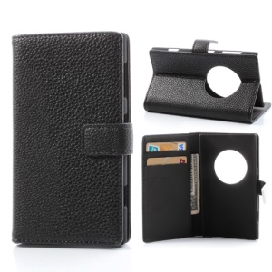 Black Litchi Leather Magnetic Flip Case Cover Credit Card Wallet for Nokia Lumia 1020 EOS
