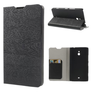 Wood Grain Leather Skin Stand Case for Nokia Lumia 1320 RM-994 RM-995 RM-996 - Black