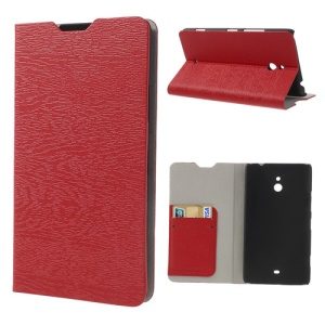 Wood Grain Card Slot Leather Cover for Nokia Lumia 1320 RM-994 RM-995 RM-996 - Red