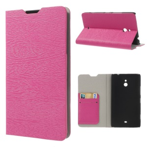 Wood Grain Card Slot Leather Shell for Nokia Lumia 1320 RM-994 RM-995 RM-996 - Rose