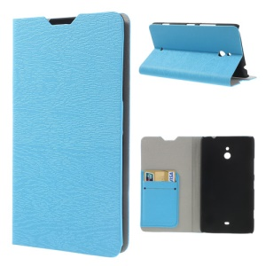 For Nokia Lumia 1320 RM-994 RM-995 RM-996 Wood Grain Stand Leather Case - Blue