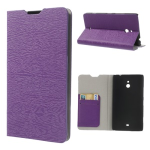 For Nokia Lumia 1320 RM-994 RM-995 RM-996 Wood Grain Leather Cover Stand - Purple