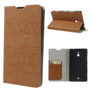 For Nokia Lumia 1320 RM-994 RM-995 RM-996 Wood Grain Leather Phone Cover - Brown