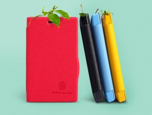 Nillkin Fresh Series Flip Leather Protective Case for Nokia Asha 502 Dual SIM;Red