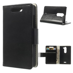 Black Crazy Horse Magnetic Leather Wallet Case for Nokia Asha 502 Dual SIM w/ Stand