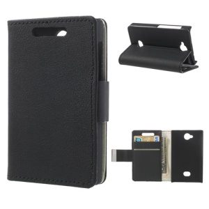 Lychee Texture Wallet Leather Stand Case for Nokia Asha 503 - Black