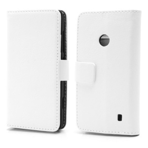 Folio Wallet Leather Stand Case Cover for Nokia Lumia 520 - White