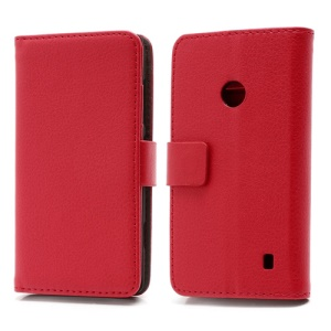 Folio For Nokia Lumia 520 Leather Wallet Case Cover w/ Stand and Card Slots - Red