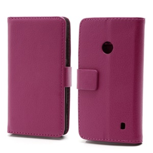 Folio Leather Wallet Case Cover w/ Stand and Card Slots for Nokia Lumia 520 - Rose