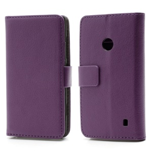 Folio Leather Wallet Case Cover Stand for Nokia Lumia 520 - Purple