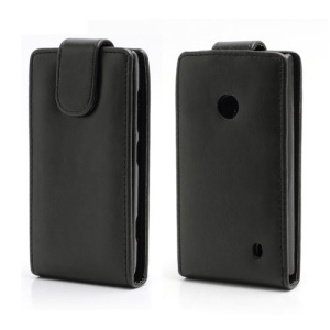 Black Vertical Magnetic Flap Leather Case Cover for Nokia Lumia 520 525