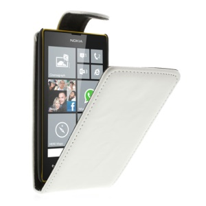 White Vertical Magnetic Flap Leather Case for Nokia Lumia 520 525