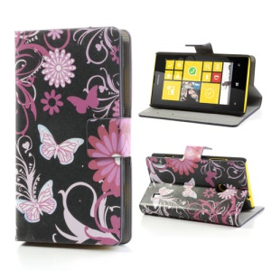 Butterfly Floral Folio Leather Wallet Case Cover for Nokia Lumia 520 525