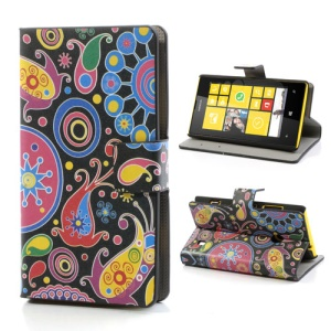 Colorized Pattern Folio Leather Wallet Case Stand for Nokia Lumia 520 525