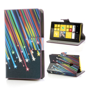 Meteor Shower Folio Leather Case for Nokia Lumia 520 525, w/ Card Slots and Stand
