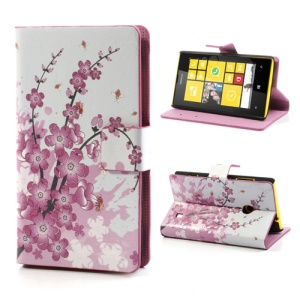 Plum Blossom Folio Leather Case for Nokia Lumia 520 525, w/ Card Slots and Stand