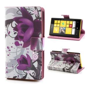 Elegant Lotus Folio Leather Case for Nokia Lumia 520 525, w/ Card Slots and Stand