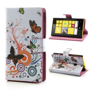 Circles Butterflies Folio Leather Case for Nokia Lumia 520 525, w/ Card Slots and Stand