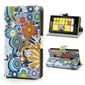 Colorized Flowers Leather Folio Case for Nokia Lumia 520 525, w/ Card Slots and Stand