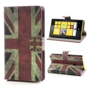 Union Jack Leather Flip Case for Nokia Lumia 520 525, w/ Card Slots and Stand