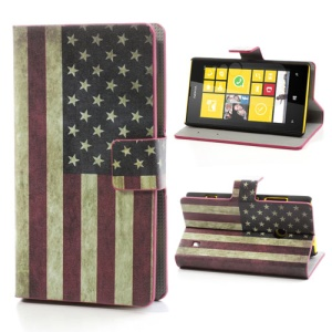 USA American Flag Folio Leather Cover for Nokia Lumia 520 525, w/ Card Slots and Stand