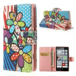 Printed Pattern Leather Wallet Case w/ Stand for Nokia Lumia 520 525 - Zebra Stripe & Flower
