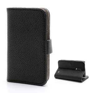 Litchi Textured Folio Wallet Leather Stand Case for Nokia Lumia 620 - Black