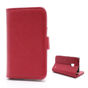 Litchi Textured Folio Wallet Leather Stand Case for Nokia Lumia 620 - Red