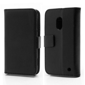 Wallet Leather Stand Case Cover for Nokia Lumia 620 - Black