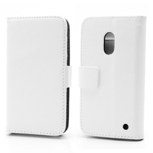 Wallet Leather Stand Case Cover for Nokia Lumia 620 - White