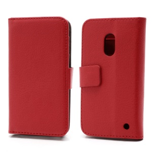 Wallet Leather Stand Case Cover for Nokia Lumia 620 - Red