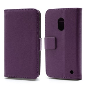 Wallet Leather Stand Case Cover for Nokia Lumia 620 - Purple
