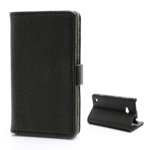 Lychee Grain Card Slot Wallet Leather Case w/ Stand for Nokia Lumia 720 - Black