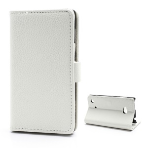 Lychee Grain Card Slot Wallet Leather Case w/ Stand for Nokia Lumia 720 - White