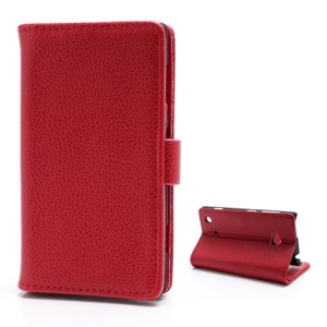 Lychee Grain Card Slot Wallet Leather Case w/ Stand for Nokia Lumia 720 - Red
