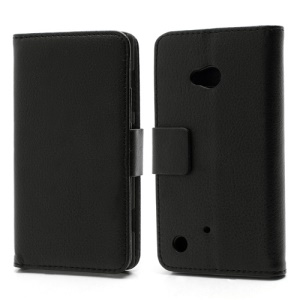 Folio Leather Wallet Case Cover w/ Stand for Nokia Lumia 720 - Black