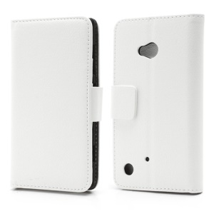 Folio Leather Wallet Case Cover w/ Stand for Nokia Lumia 720 - White