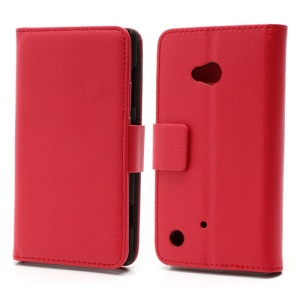 Folio Leather Wallet Case Cover w/ Stand for Nokia Lumia 720 - Red