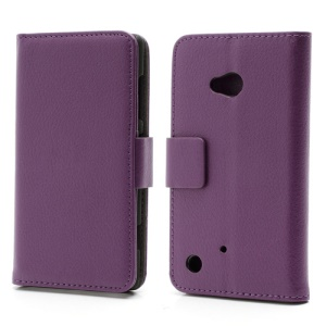 Folio Leather Wallet Case Cover w/ Stand for Nokia Lumia 720 - Purple