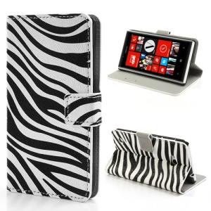 Zebra Wallet Style Leather Magnetic Case Cover for Nokia Lumia 720