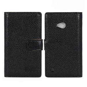 Black Impression Genuine Full Grain Cowhide Leather Case for Nokia Lumia 720