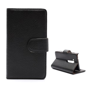 Lychee Leather Card Wallet Case Stand for Nokia Lumia 810 - Brown / Black