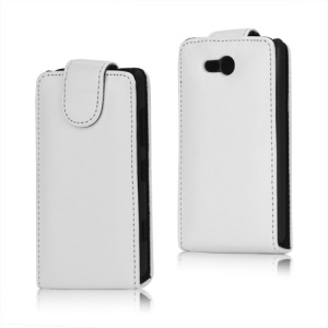 Crazy Horse PU Leather Case Cover for Nokia Lumia 820 - White