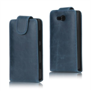 Crazy Horse PU Leather Case Cover for Nokia Lumia 820 - Blue