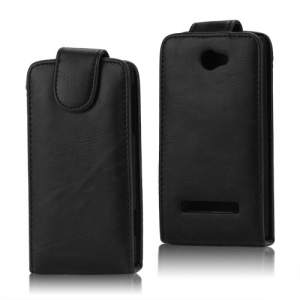Glossy Leather Vertical Flip Case for HTC Windows Phone 8S - Black