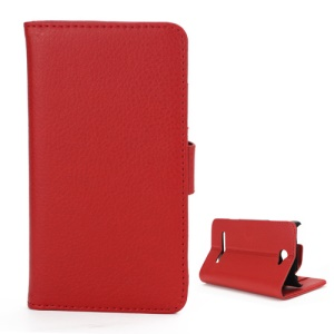Litchi Leather Wallet Case Stand for HTC Windows Phone 8S - Red